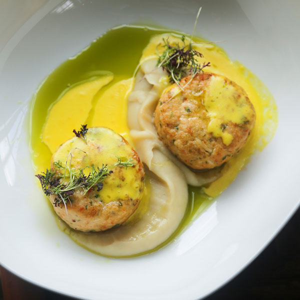 Crab & Rock Shrimp Cakes with Mango Sauce