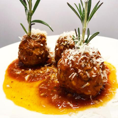 Spanish Meatballs with Chipotle Sour Glaze and Tomato-Saffron Sauce