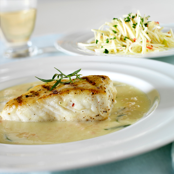 Grilled Halibut with Green Apple Beurre Blanc