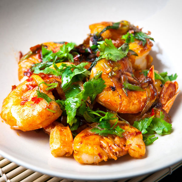 Grilled Shrimp with Kiwi & Prickly Pear Gastrique